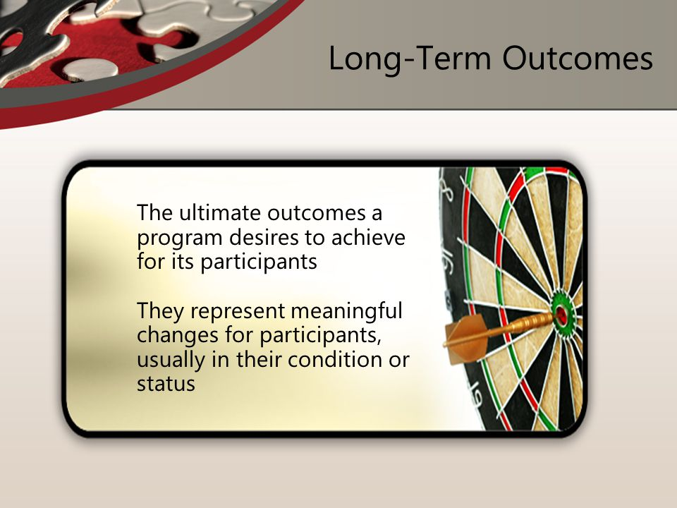 Long-Term Outcomes The ultimate outcomes a program desires to achieve for its participants.