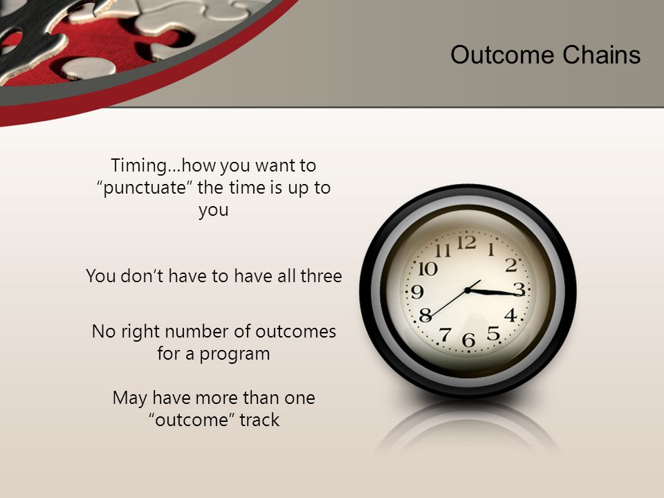 Outcome Chains Timing…how you want to punctuate the time is up to you. You don't have to have all three.