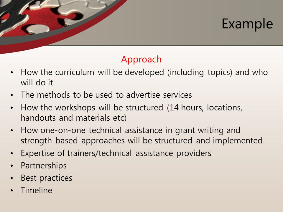 Example Approach. How the curriculum will be developed (including topics) and who will do it. The methods to be used to advertise services.