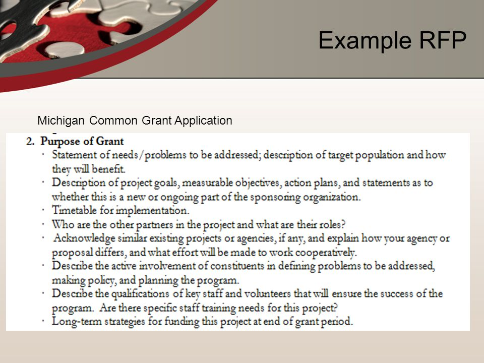 Example RFP Michigan Common Grant Application