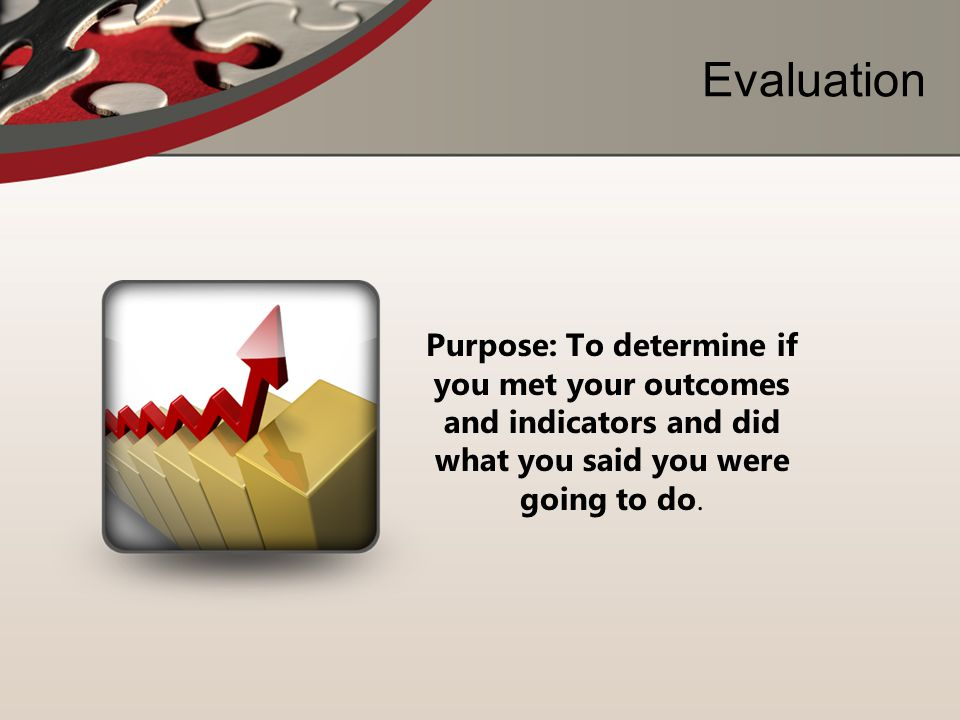 Evaluation Purpose: To determine if you met your outcomes and indicators and did what you said you were going to do.