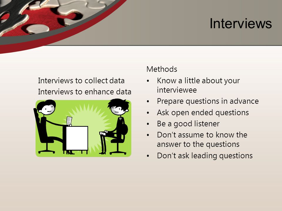 Interviews Interviews to collect data Interviews to enhance data