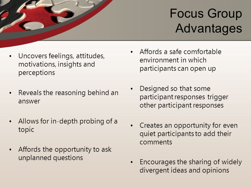 Focus Group Advantages