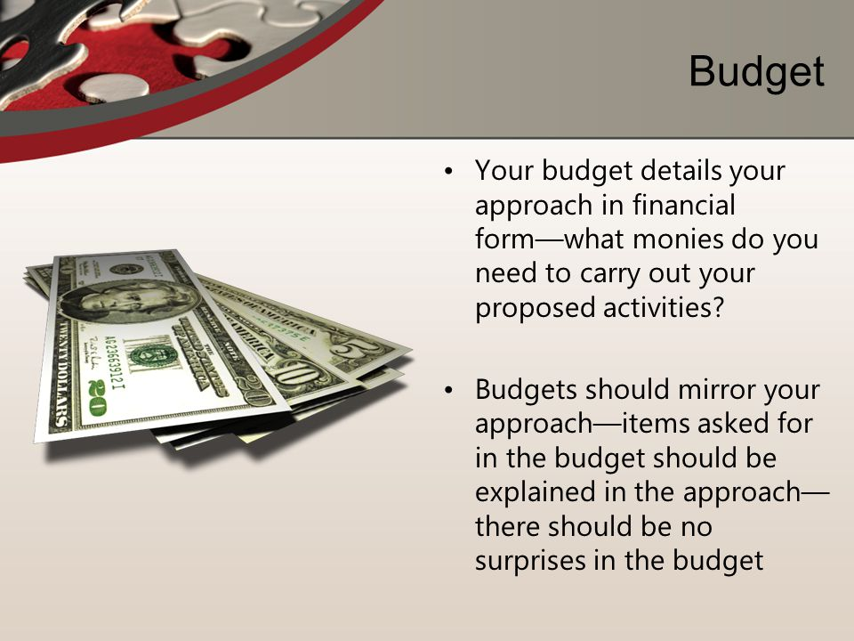 Budget Your budget details your approach in financial form—what monies do you need to carry out your proposed activities