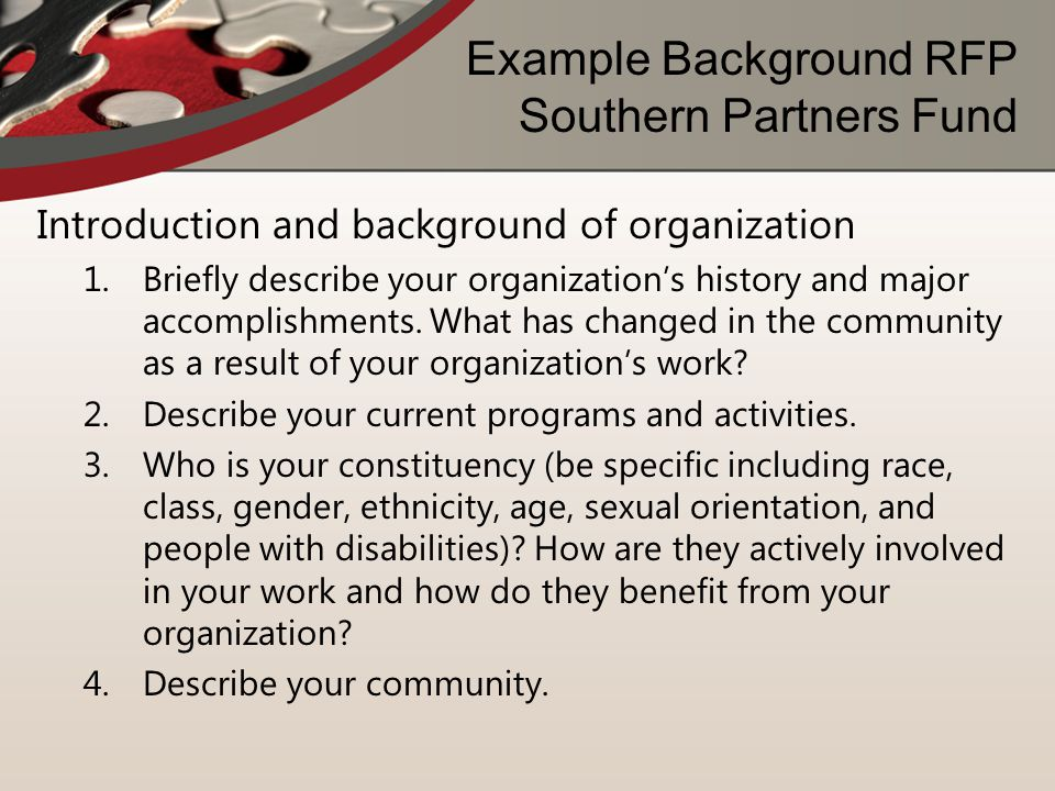 Example Background RFP Southern Partners Fund