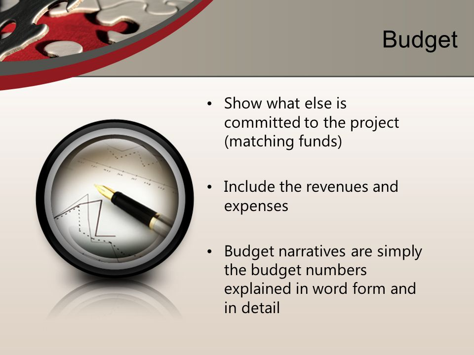 Budget Show what else is committed to the project (matching funds)
