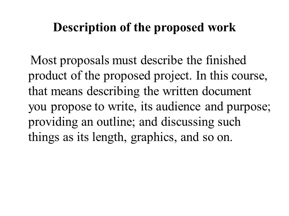 Description of the proposed work