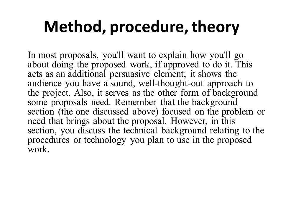 Method, procedure, theory