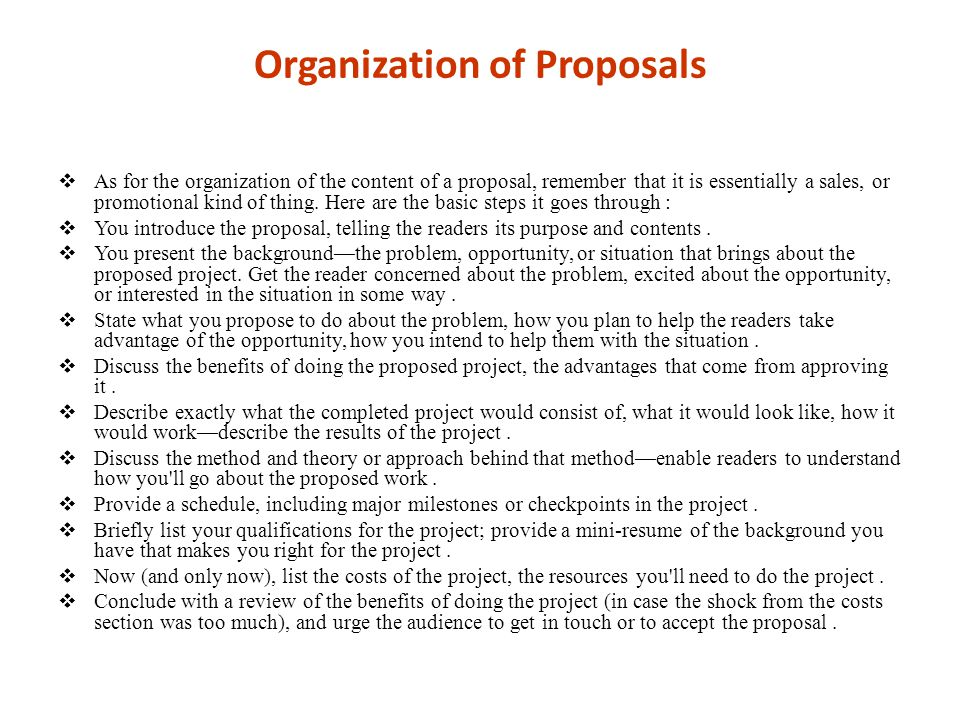 Organization of Proposals