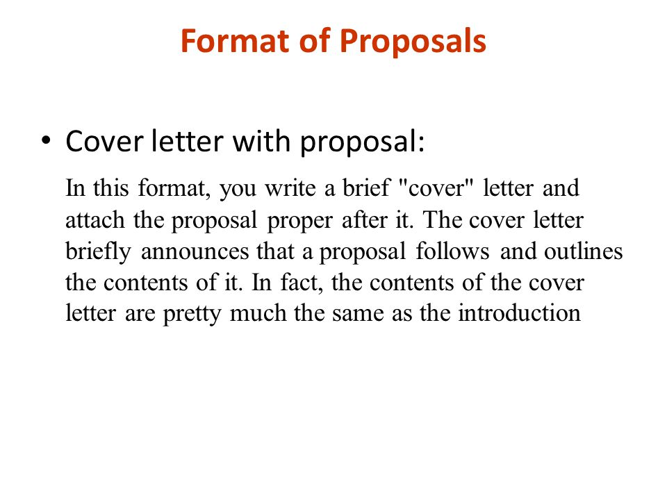 Format of Proposals Cover letter with proposal: