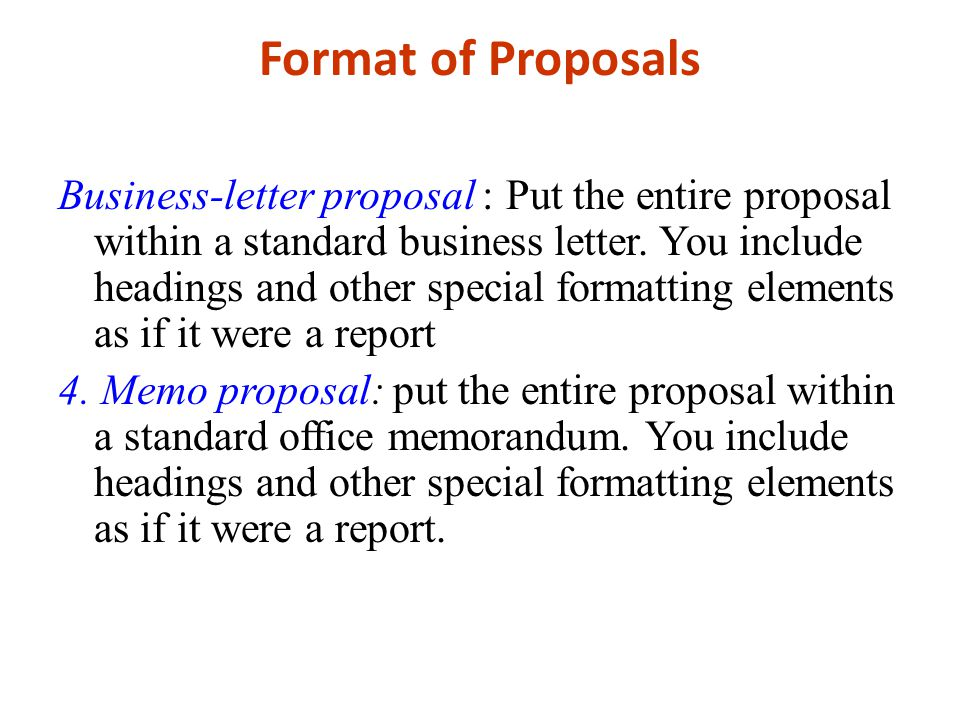 Format of Proposals