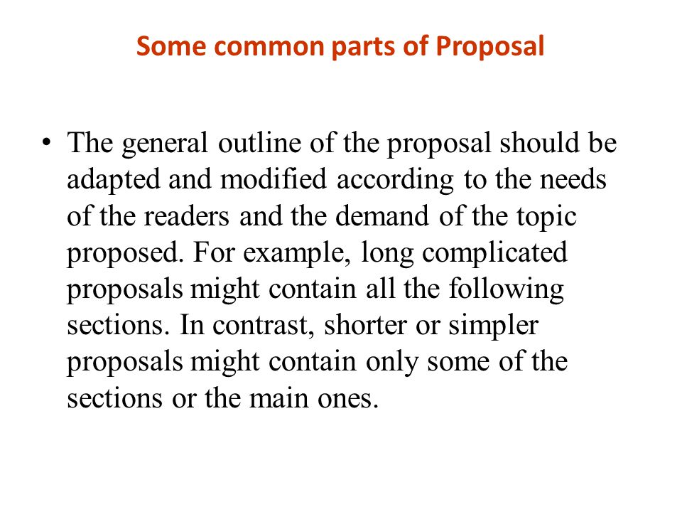 Some common parts of Proposal