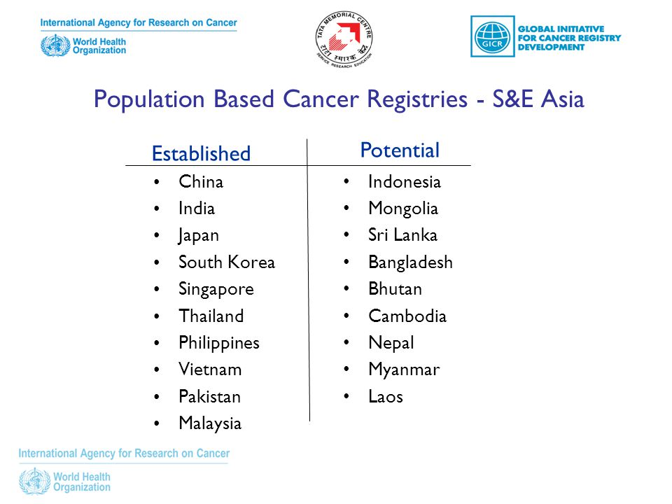 Population Based Cancer Registries - S&E Asia