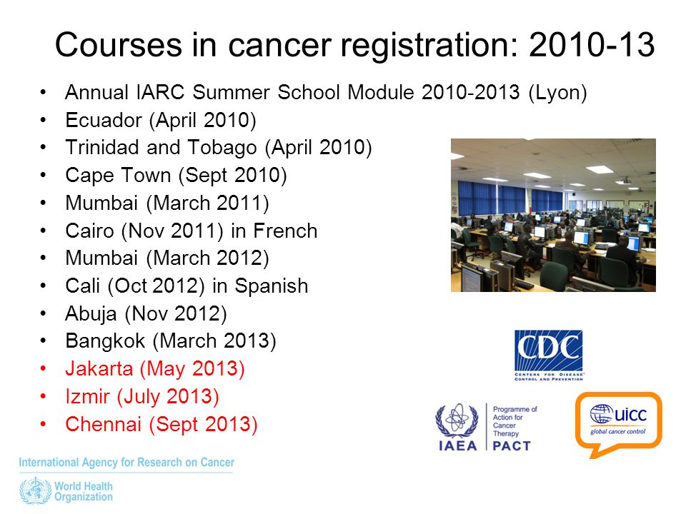 Courses in cancer registration: 2010-13