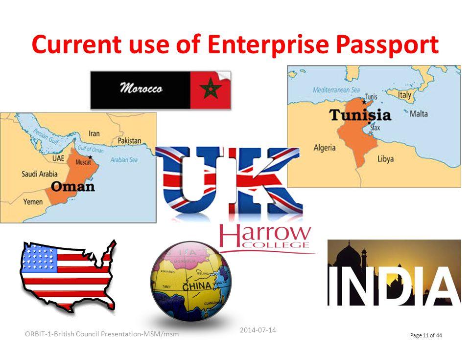 Current use of Enterprise Passport