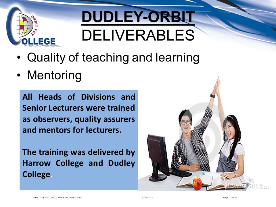 DUDLEY-ORBIT DELIVERABLES