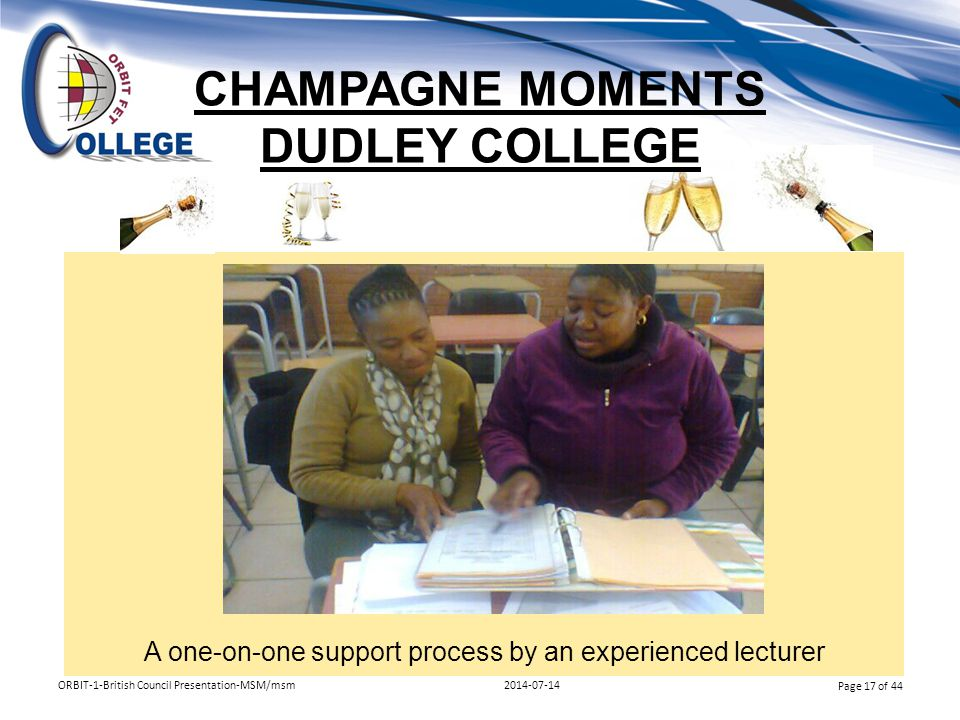 CHAMPAGNE MOMENTS DUDLEY COLLEGE