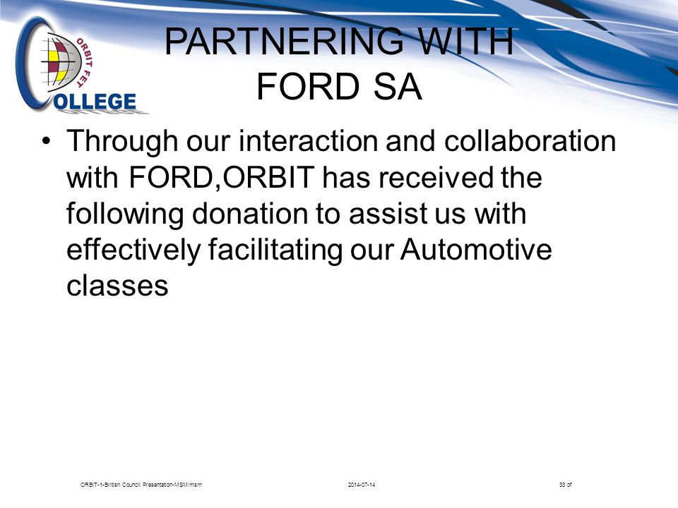 PARTNERING WITH FORD SA