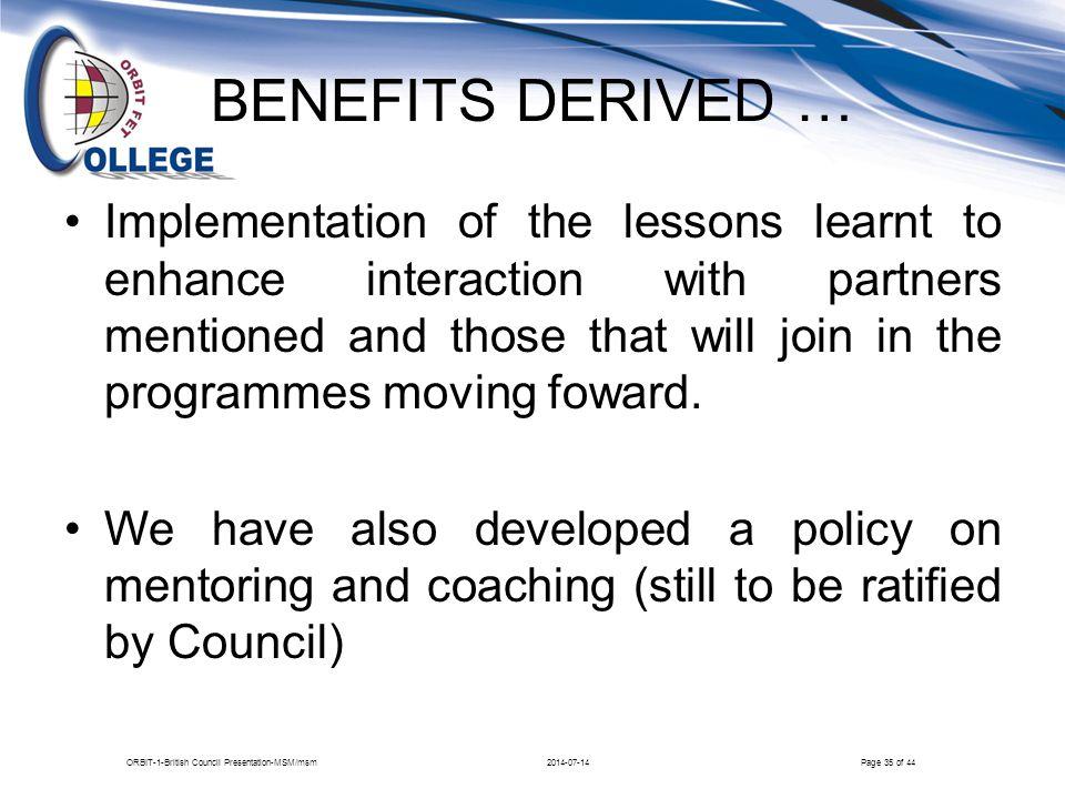 ORBIT-1-British Council Presentation-MSM/msm