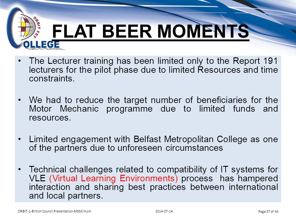 FLAT BEER MOMENTS