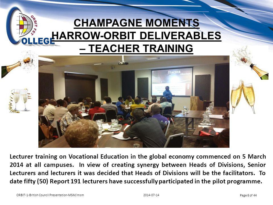 CHAMPAGNE MOMENTS HARROW-ORBIT DELIVERABLES – TEACHER TRAINING