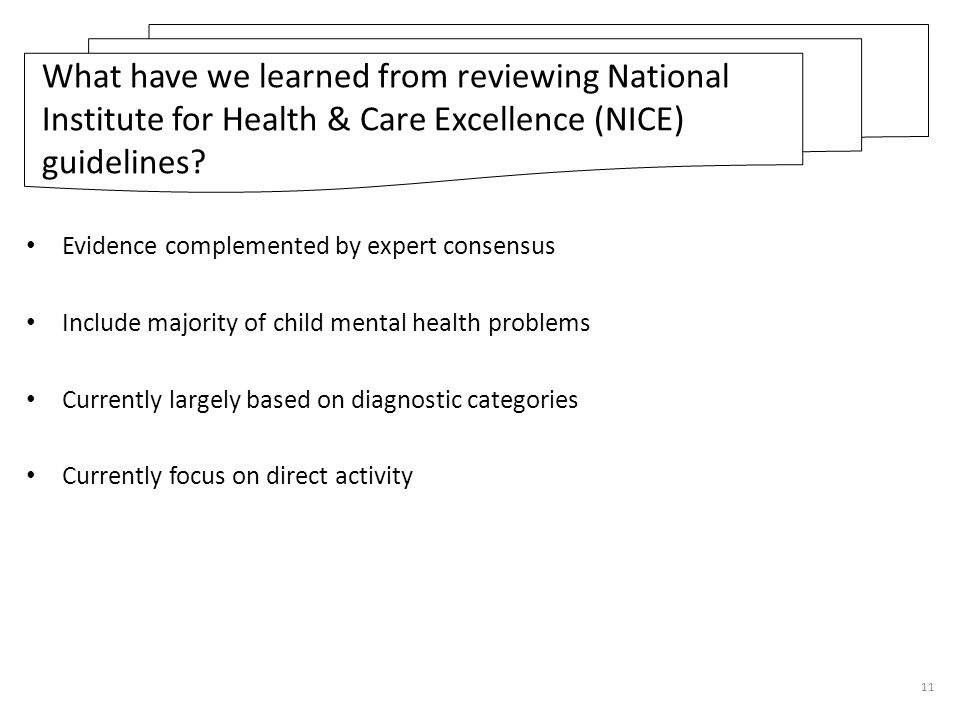 What have we learned from reviewing National Institute for Health & Care Excellence (NICE) guidelines
