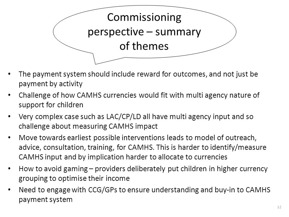 Commissioning perspective – summary of themes