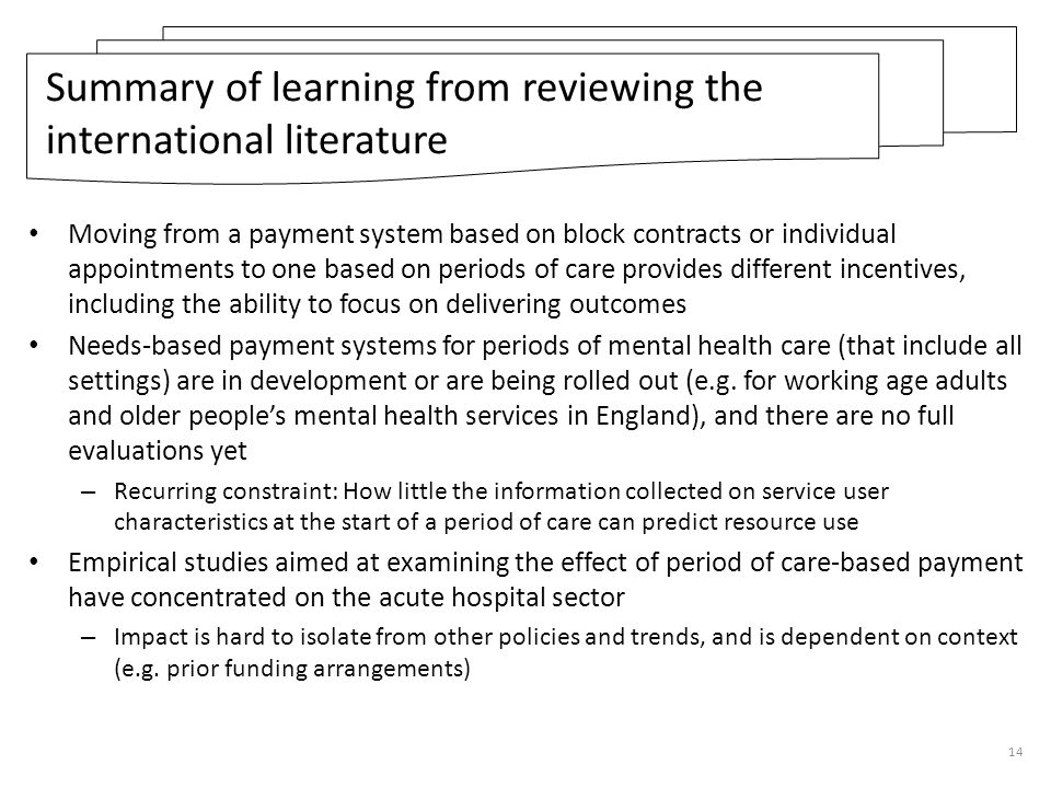 Summary of learning from reviewing the international literature