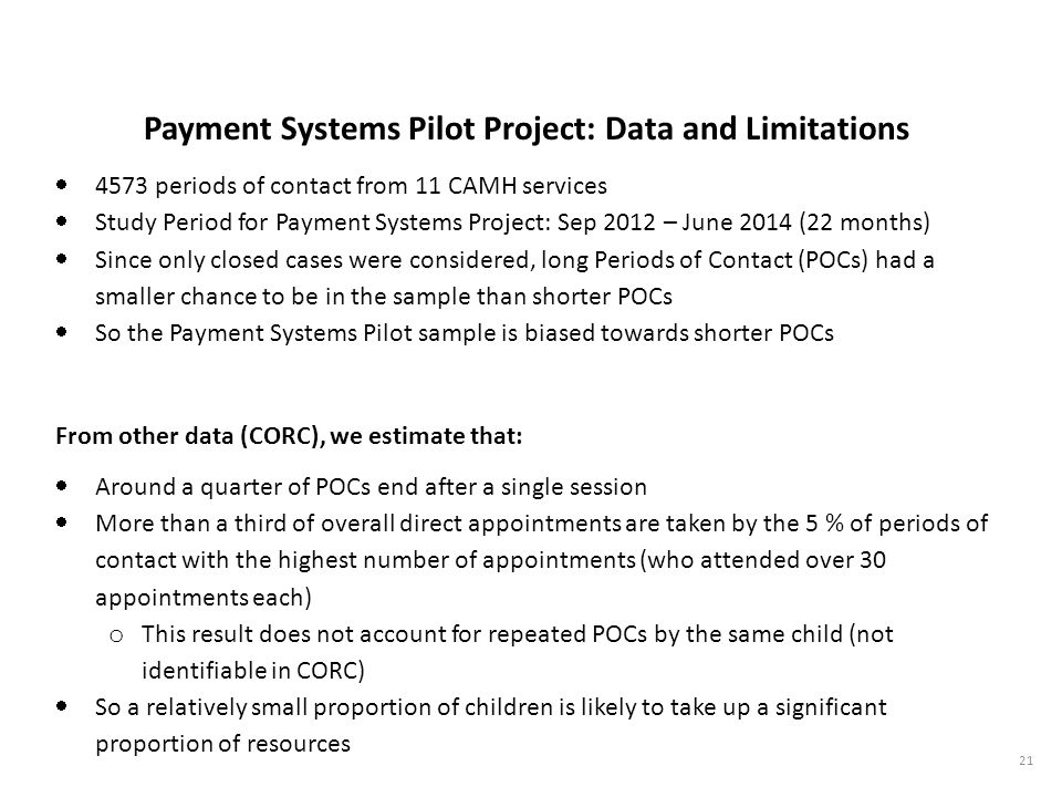 Payment Systems Pilot Project: Data and Limitations