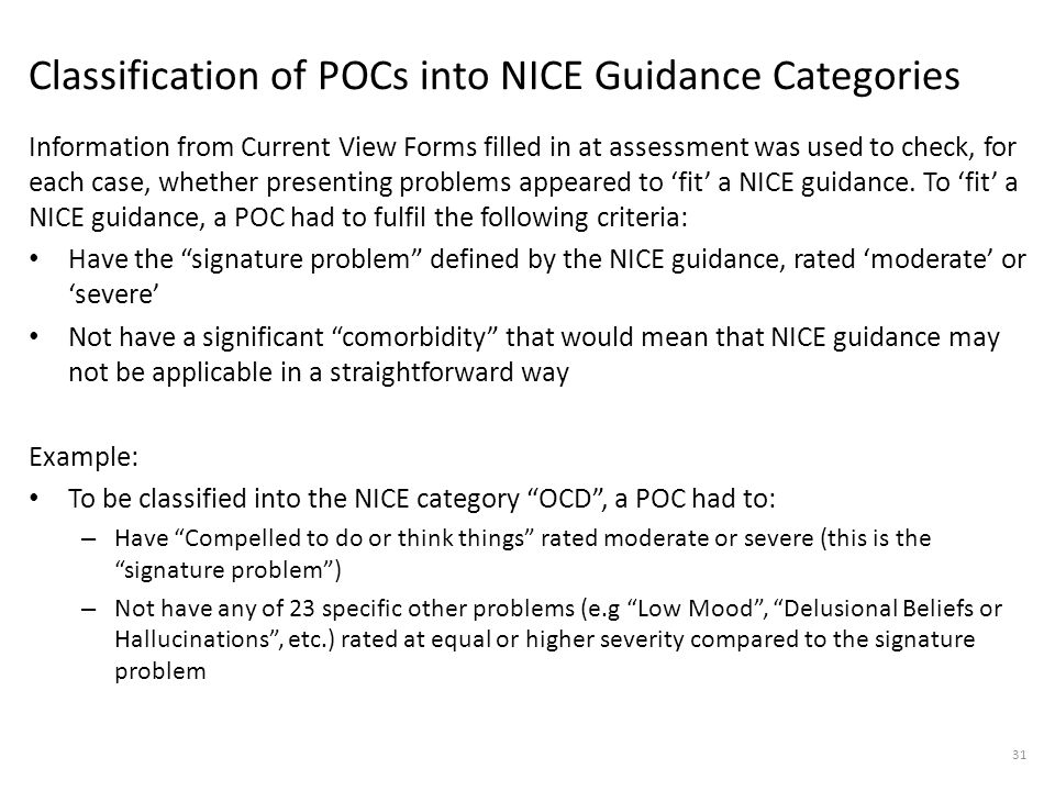 Classification of POCs into NICE Guidance Categories