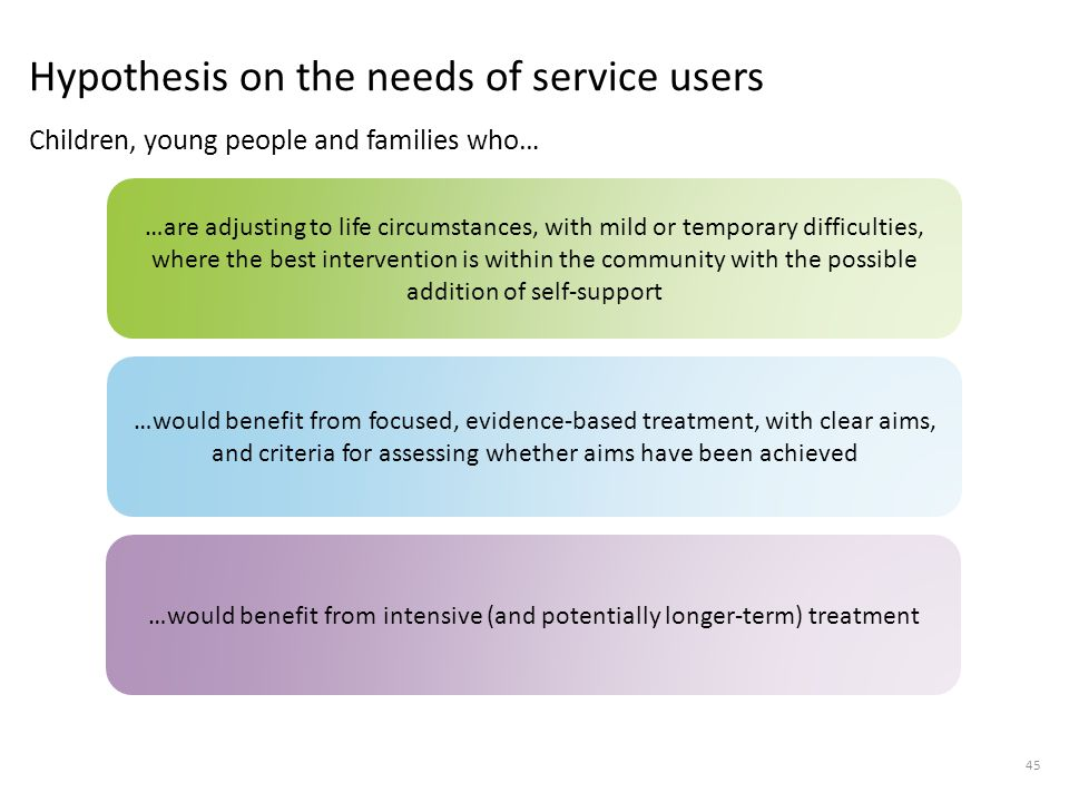 Hypothesis on the needs of service users