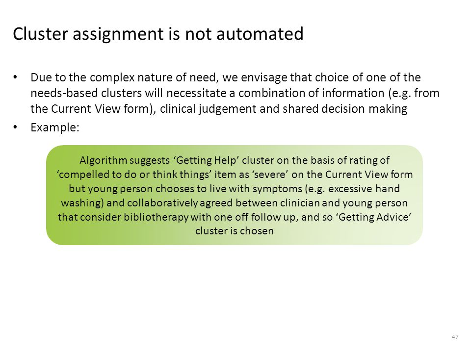 Cluster assignment is not automated