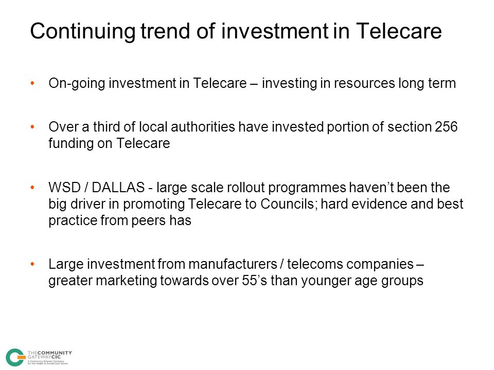 Continuing trend of investment in Telecare