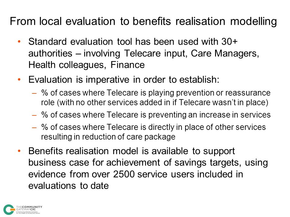 From local evaluation to benefits realisation modelling