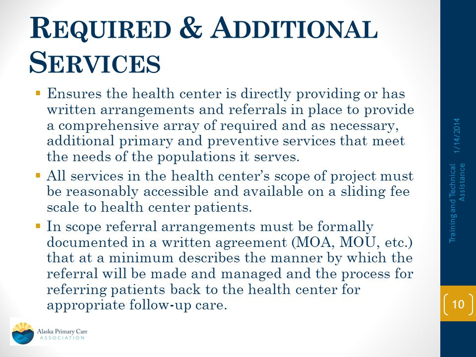 Required & Additional Services