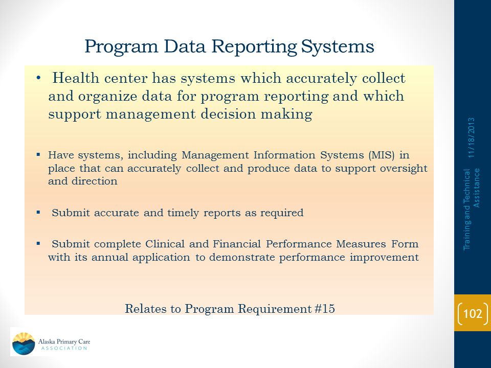 Program Data Reporting Systems