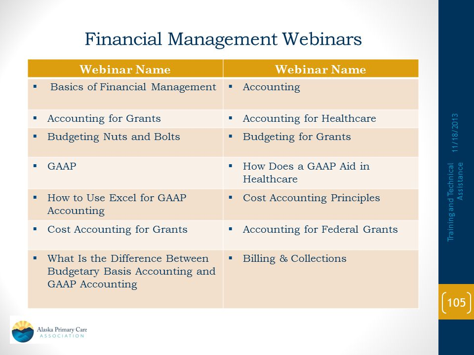Financial Management Webinars