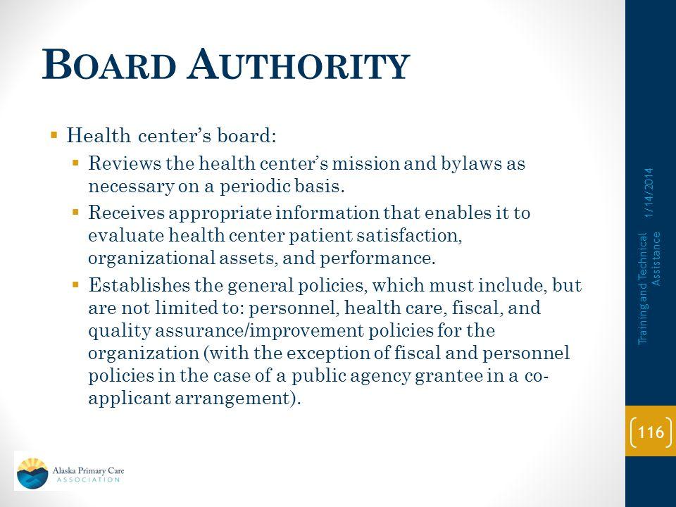 Board Authority Health center's board:
