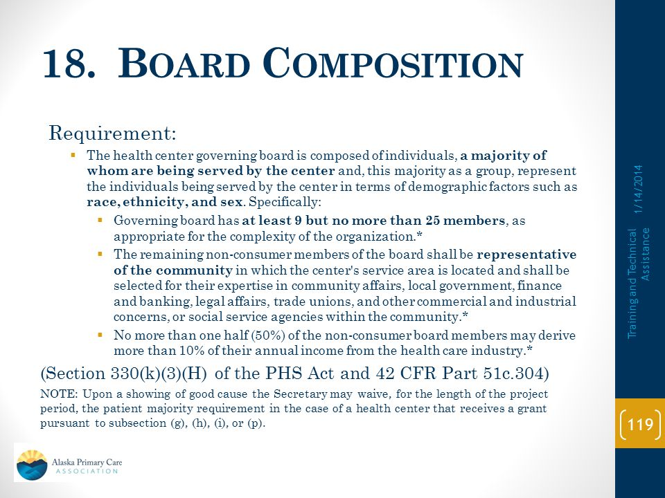 18. Board Composition Requirement: