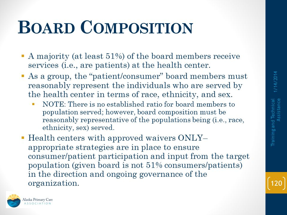 Board Composition A majority (at least 51%) of the board members receive services (i.e., are patients) at the health center.