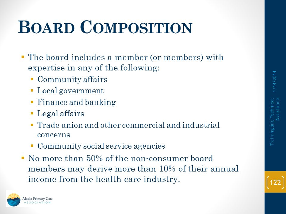Board Composition The board includes a member (or members) with expertise in any of the following: Community affairs.