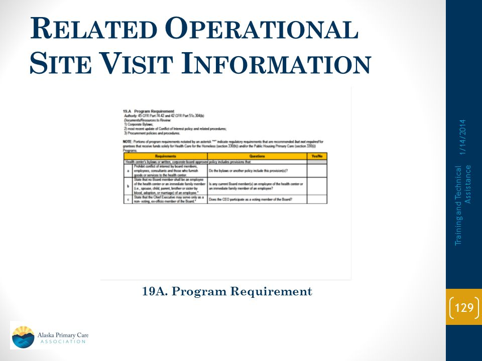 Related Operational Site Visit Information