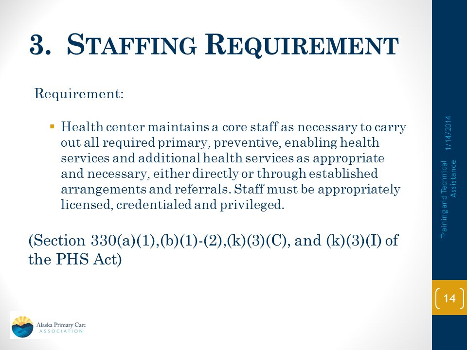 3. Staffing Requirement Requirement: