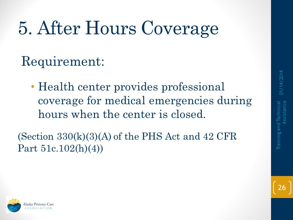5. After Hours Coverage Requirement: