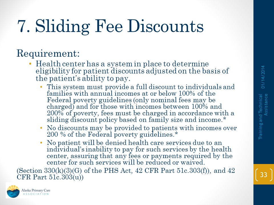 7. Sliding Fee Discounts Requirement: