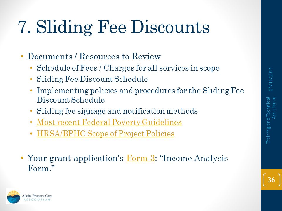 7. Sliding Fee Discounts Documents / Resources to Review