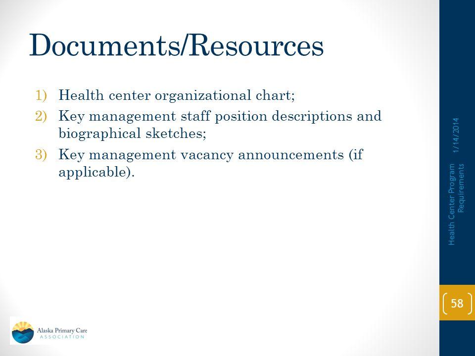 Documents/Resources Health center organizational chart;