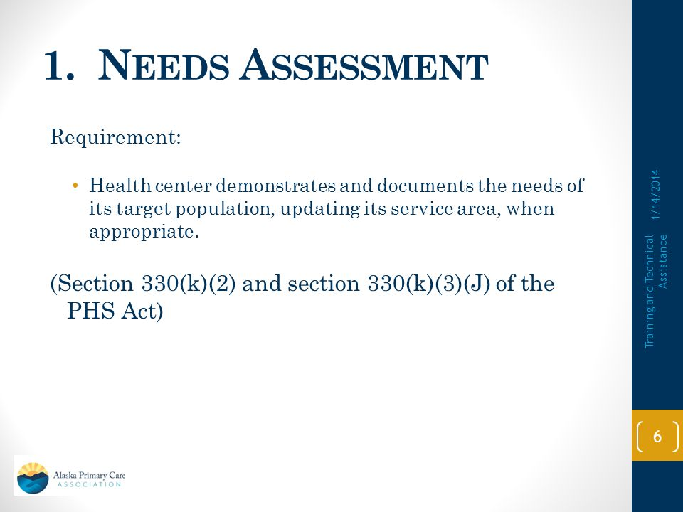 1. Needs Assessment Requirement: