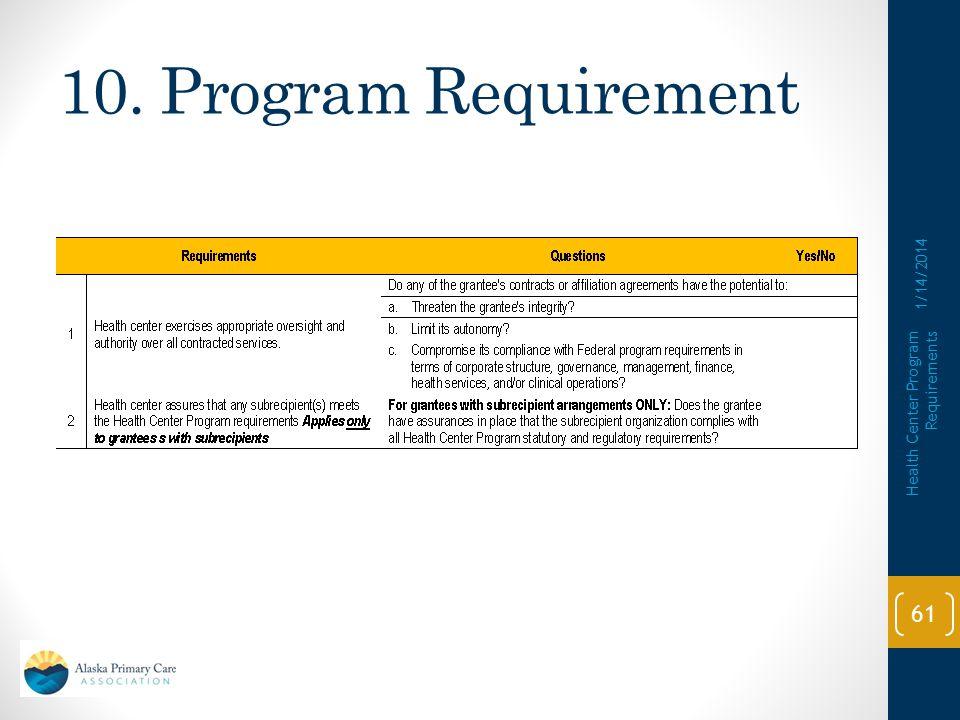 10. Program Requirement 1/14/2014 Health Center Program Requirements