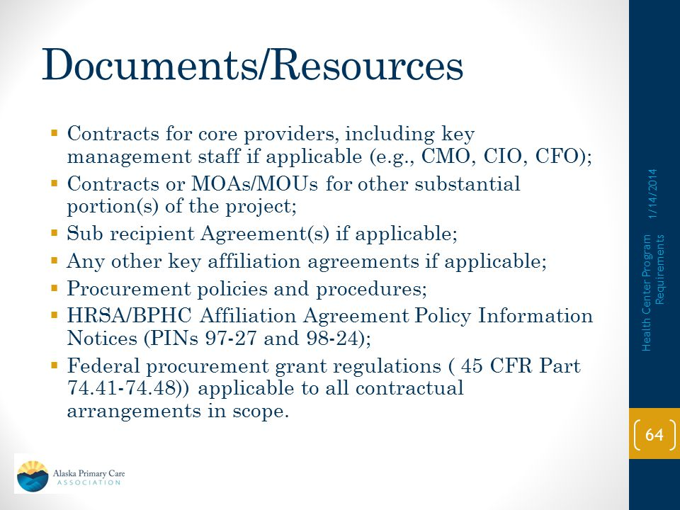 Documents/Resources Contracts for core providers, including key management staff if applicable (e.g., CMO, CIO, CFO);